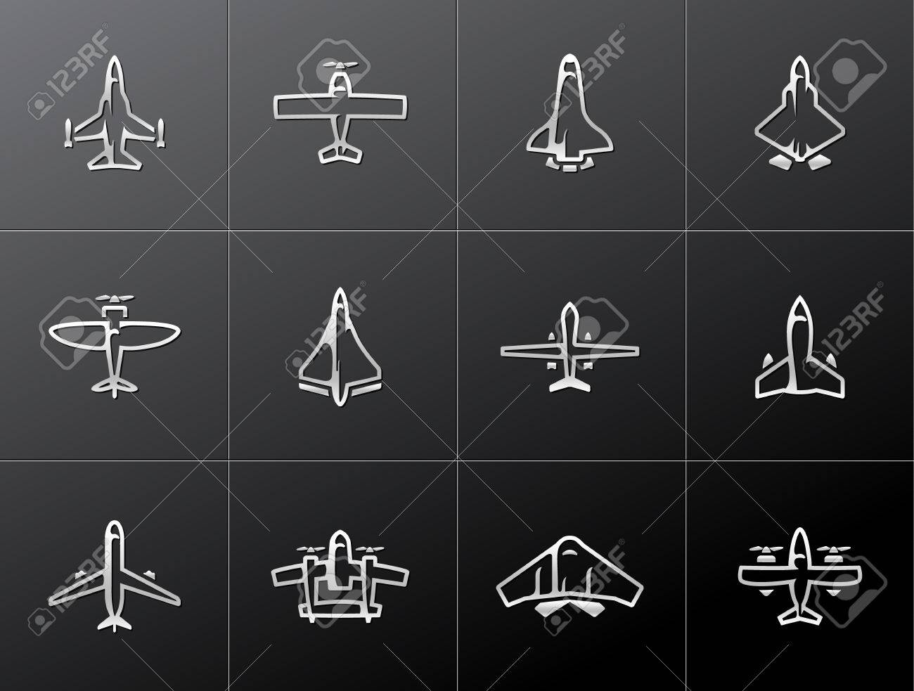 Airplane silhouette icons in metallic style. EPS 10. Stock Vector - 23775249