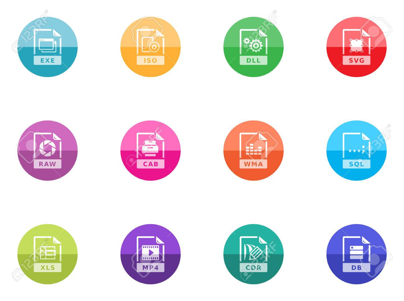 File format icon series in color circles Stock Vector - 28340527