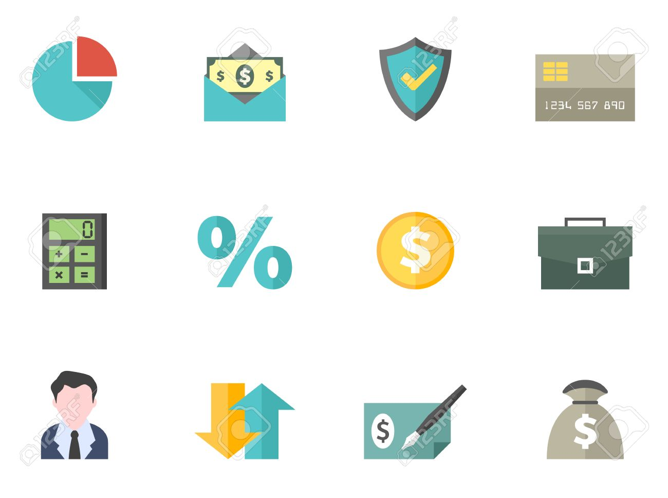 Finance Icon Series In Flat Colors Style Eps 10 With Ai Pdf Png File Of Each Icon Included Font Source Amaranth Bitwise Royalty Free Cliparts Vectors And Stock Illustration Image 34190633
