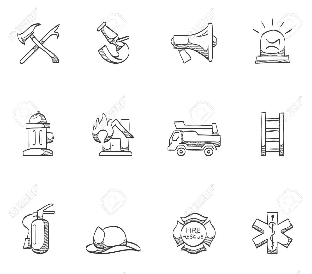 firefighter icon series hand drawn sketches royalty free cliparts