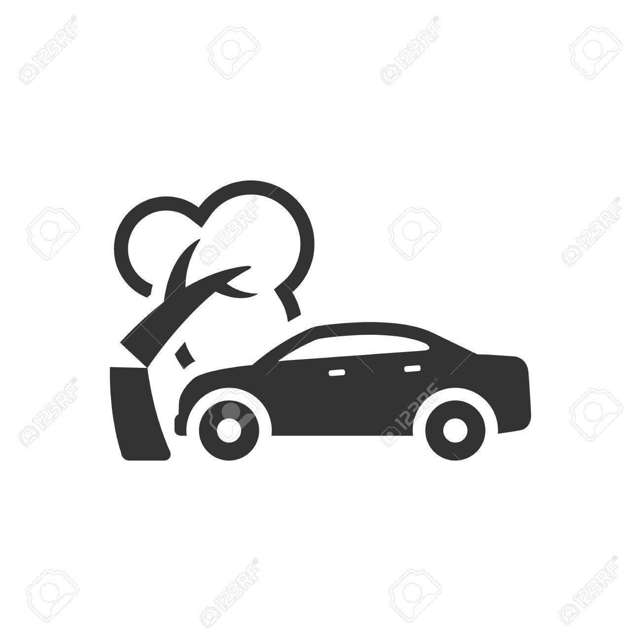 Icono Accidente De Tráfico En Un Solo Color. Accidente Automotriz ...