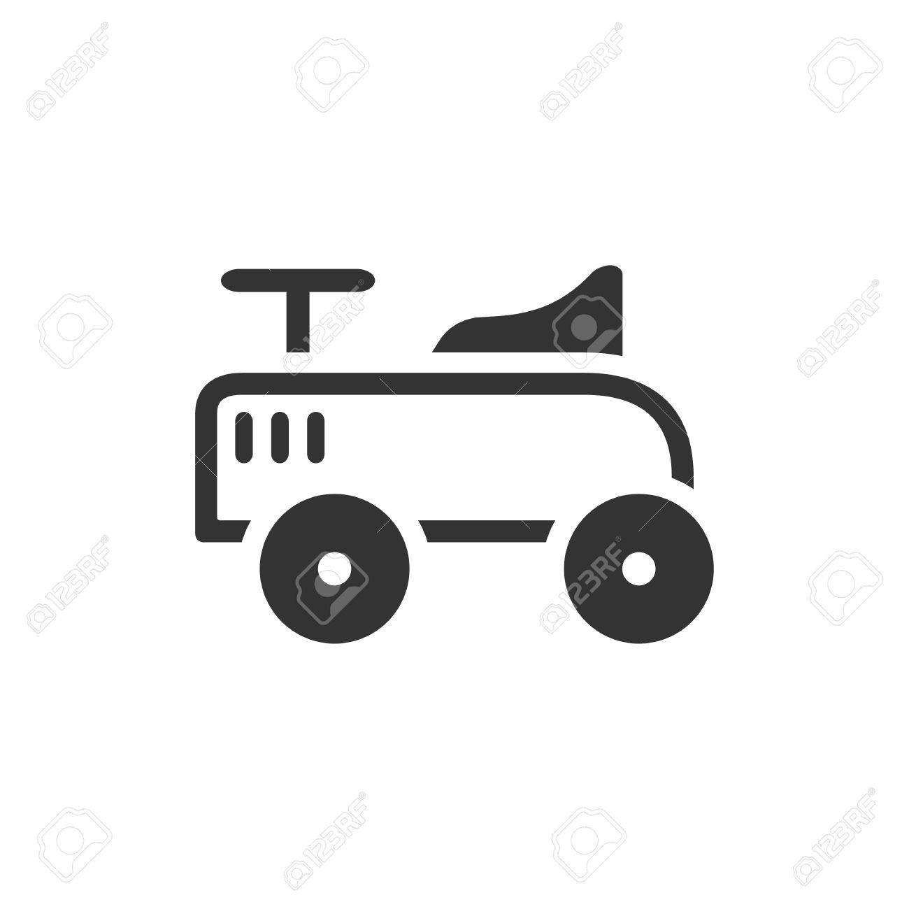 Toy Car Icon In Single Grey Color Kids Children Playing Driver