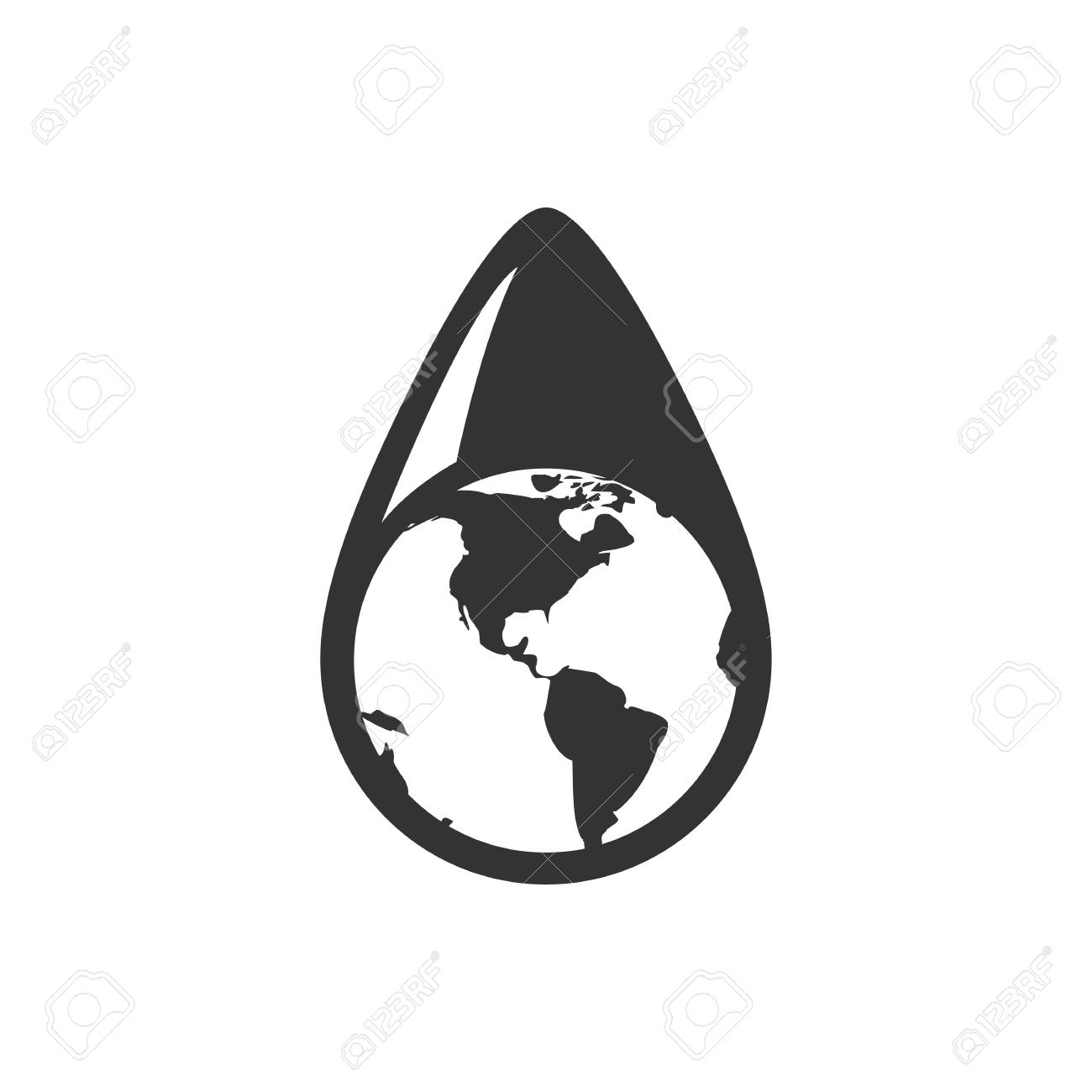 Earth Water Drop Icon In Single Grey Color Climate Change