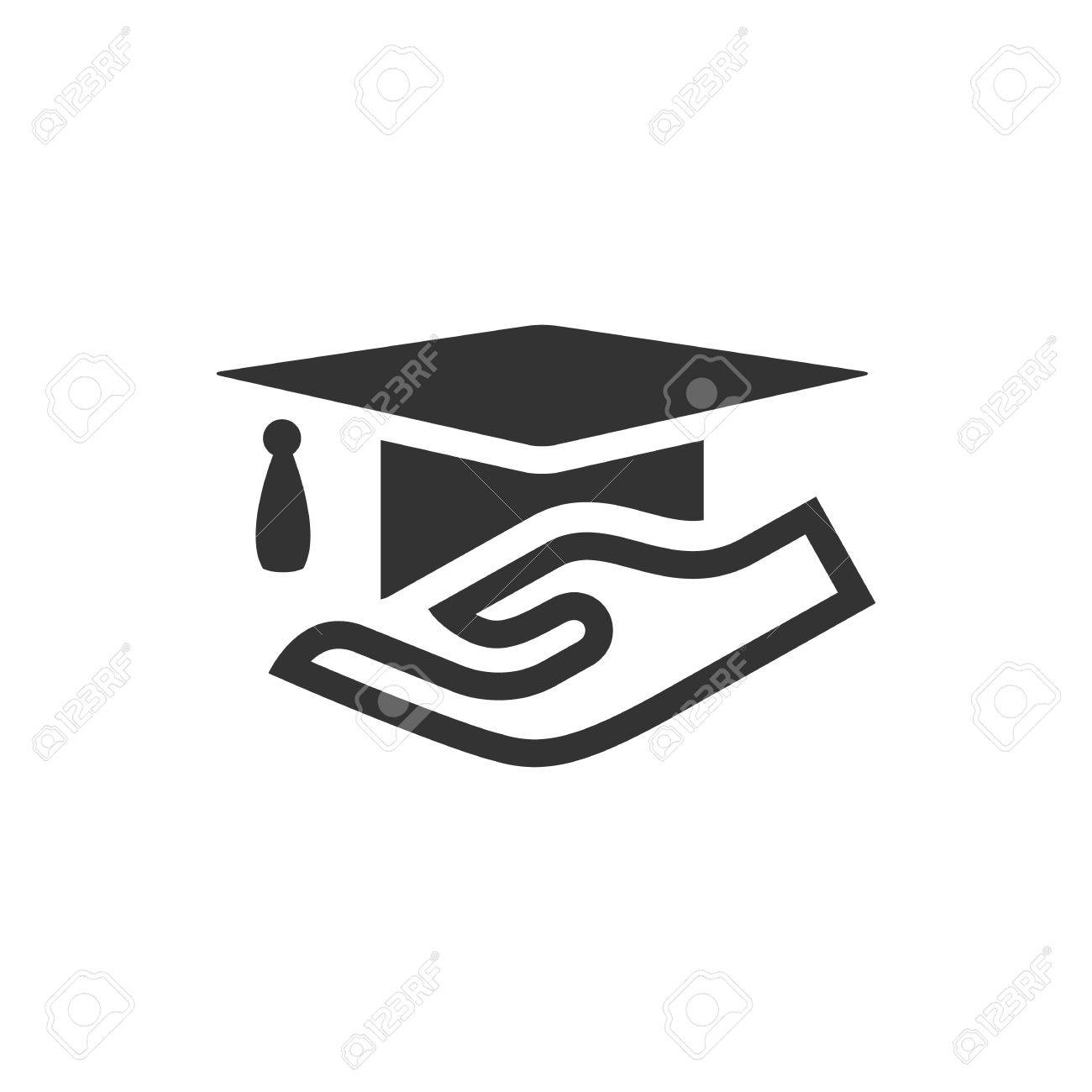 hand holding diploma icon in single color education school  hand holding diploma icon in single color education school protection security graduate diploma insurance stock