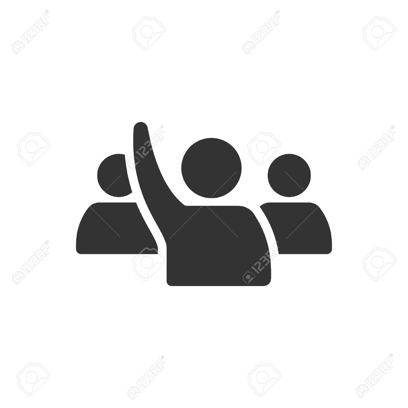 People raise hand icon in single color. Business finance buying auction student answer - 70487454