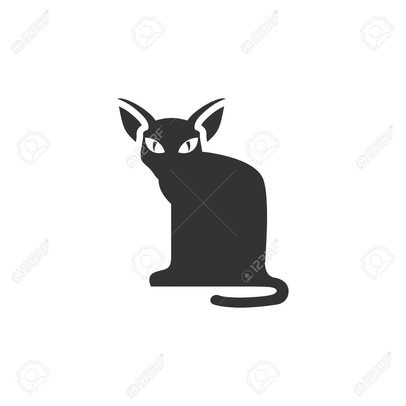 Cat Icon In Single Color Animal Halloween Symbol Dark Black