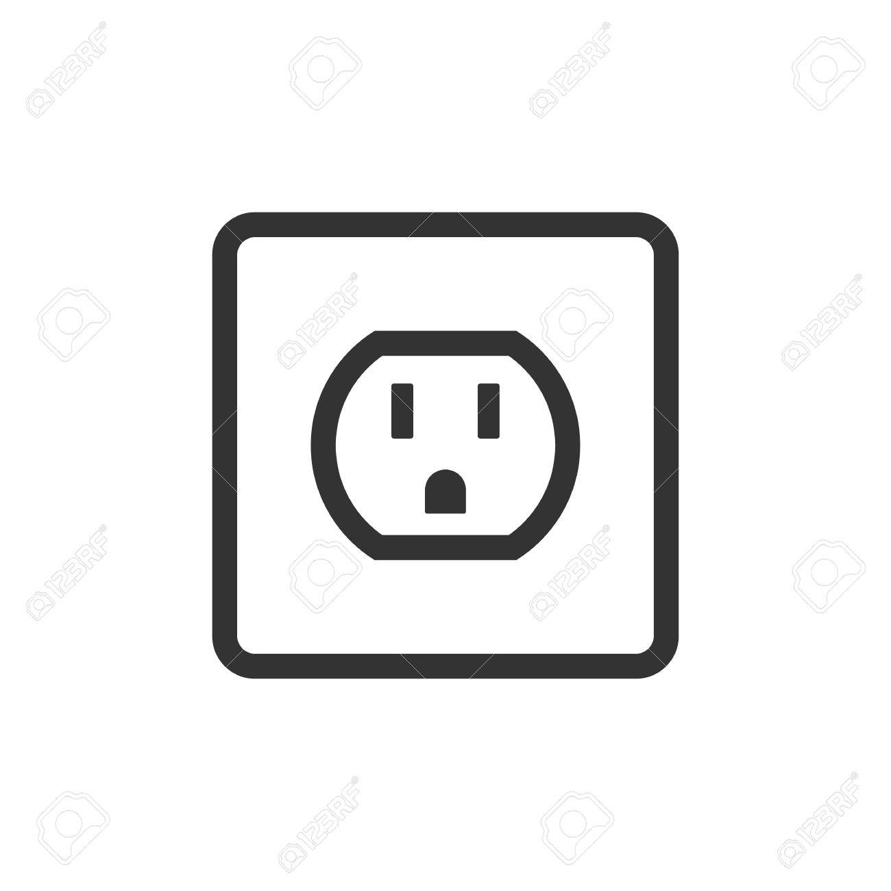 Electrical Outlet Icon In Single Grey Color. Electronic Connect ...