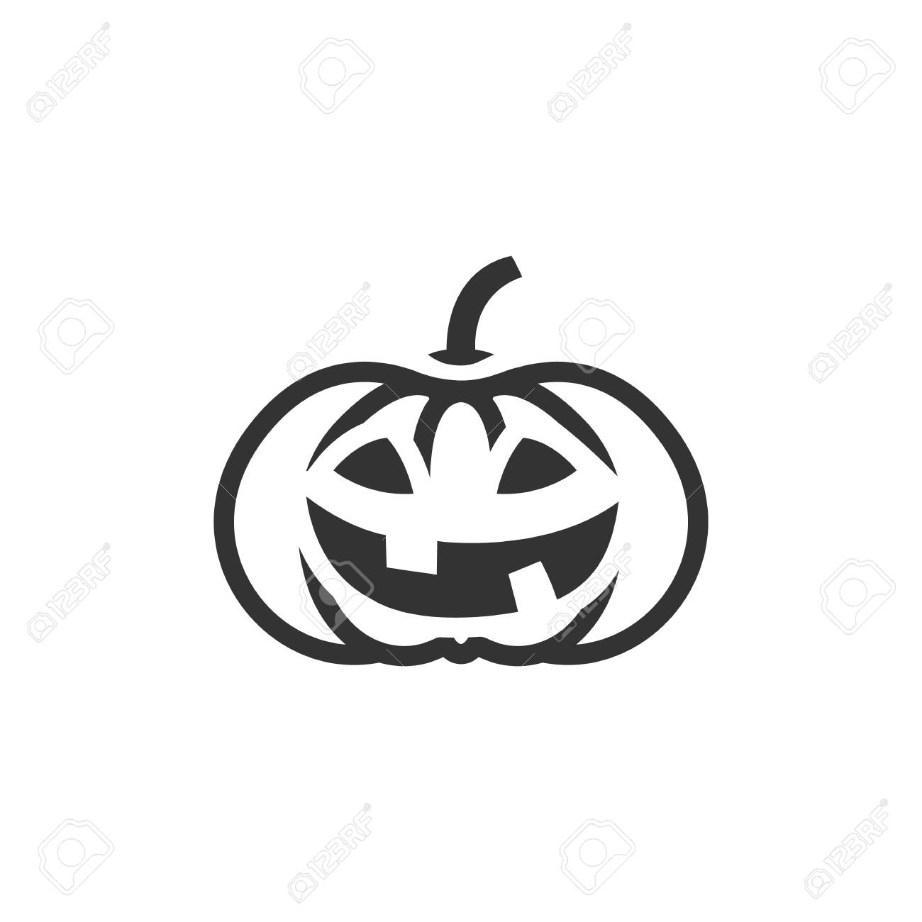 Pumpkin icon in single color. Holiday object spooky Halloween..