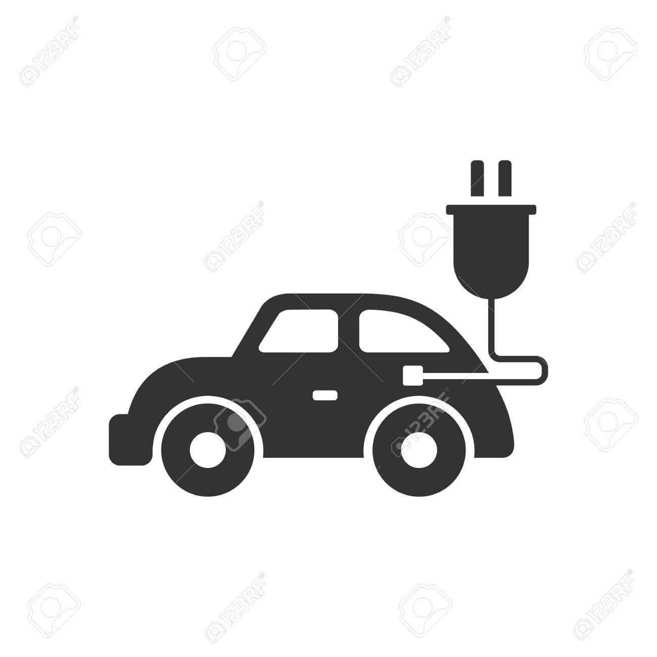 Elektro-Auto-Symbol In Einzelne Graue Farbe. Fahrzeug, Umwelt ...