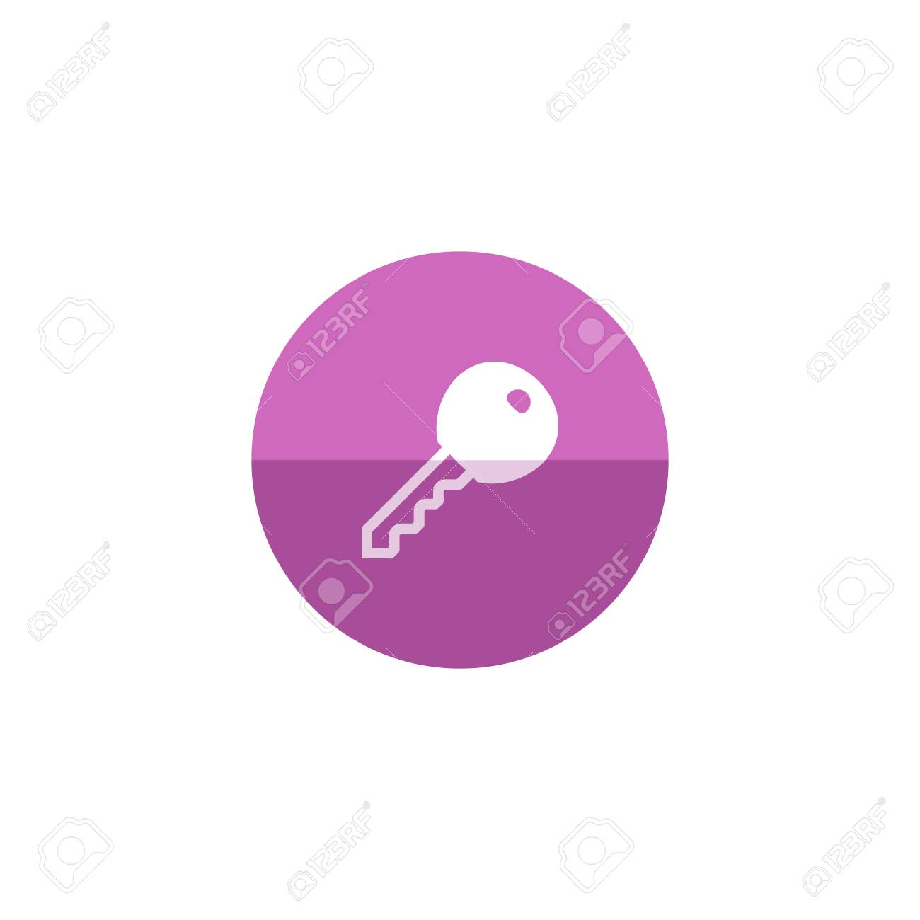 Key Icon In Flat Color Circle Style. Safety Protection House ...