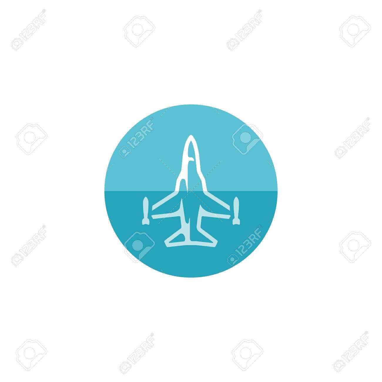 Icono De Avión De Combate En El Estilo De Círculo De Color Plano ...
