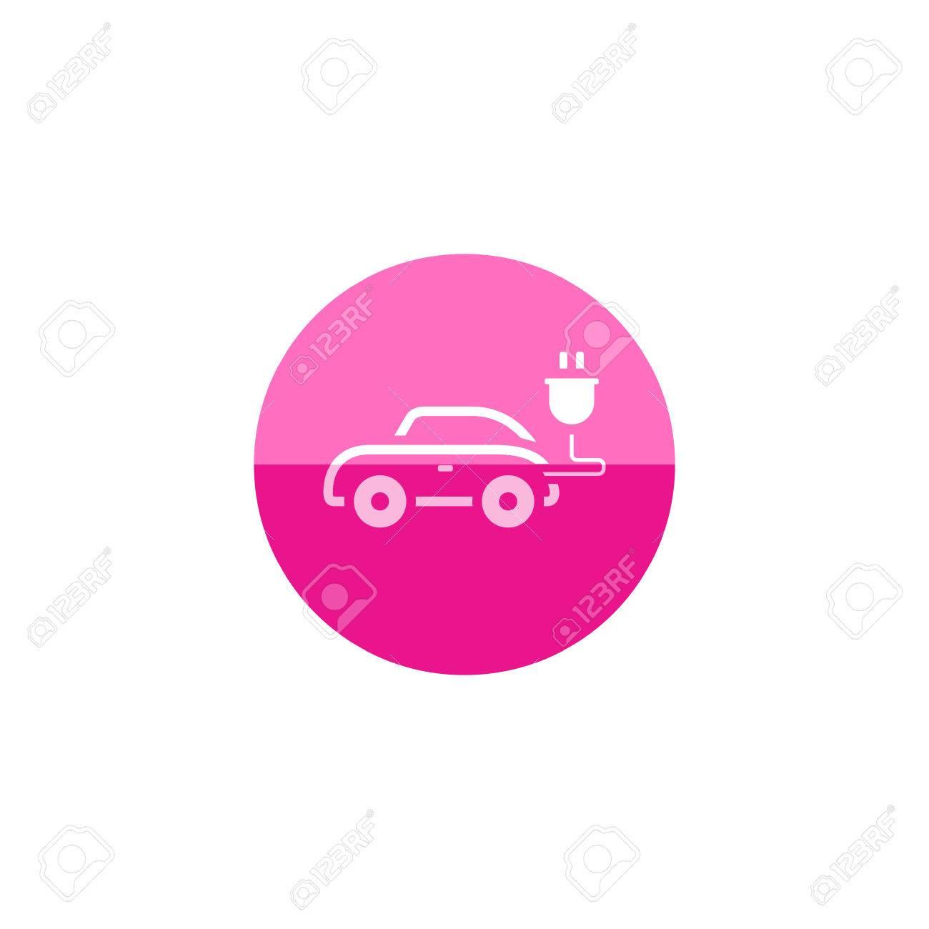Auto-Symbol In Flachen Farbe Kreis-Stil. Mini Kleine Städtische ...