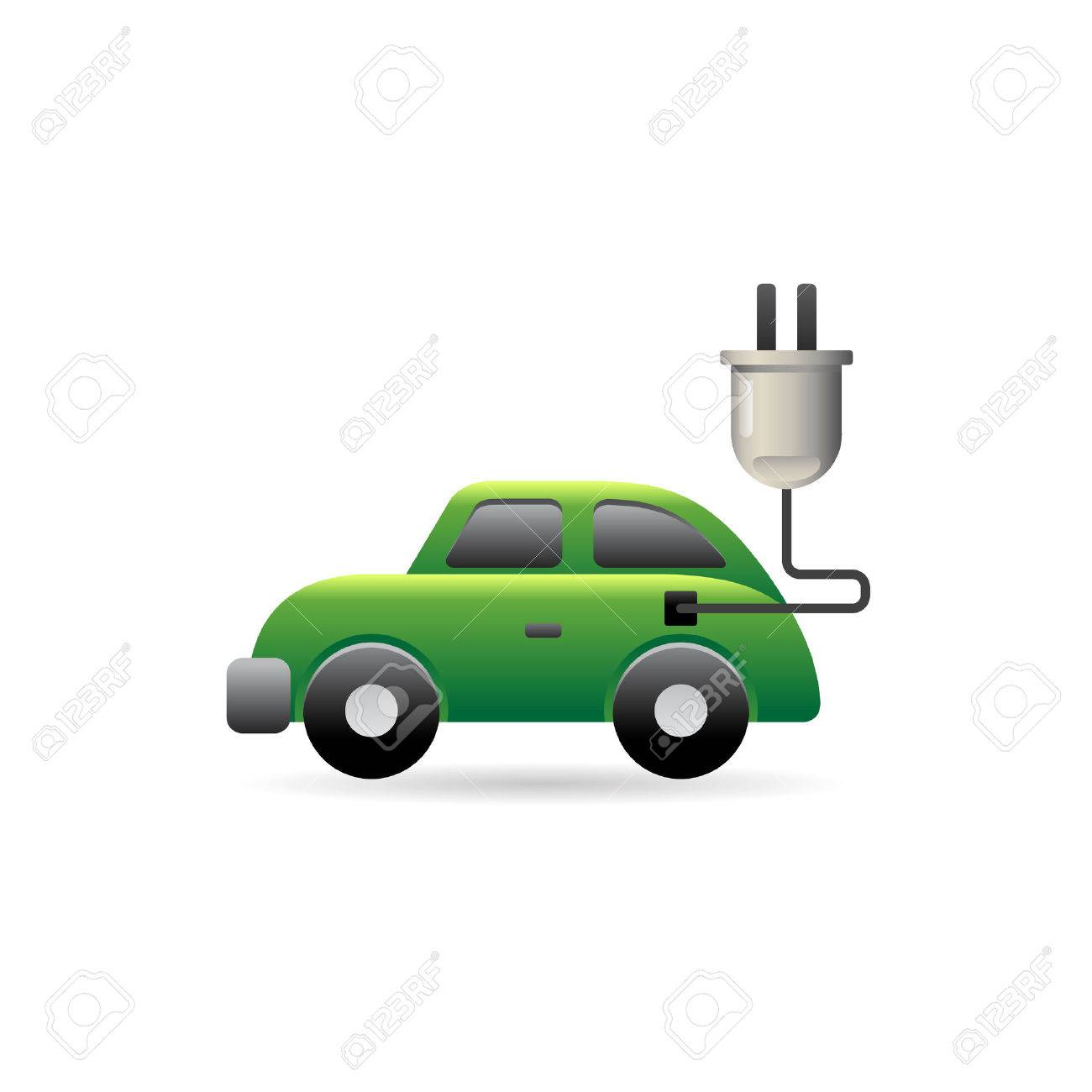 Electric car icon in color. Vehicle environment - 71631285