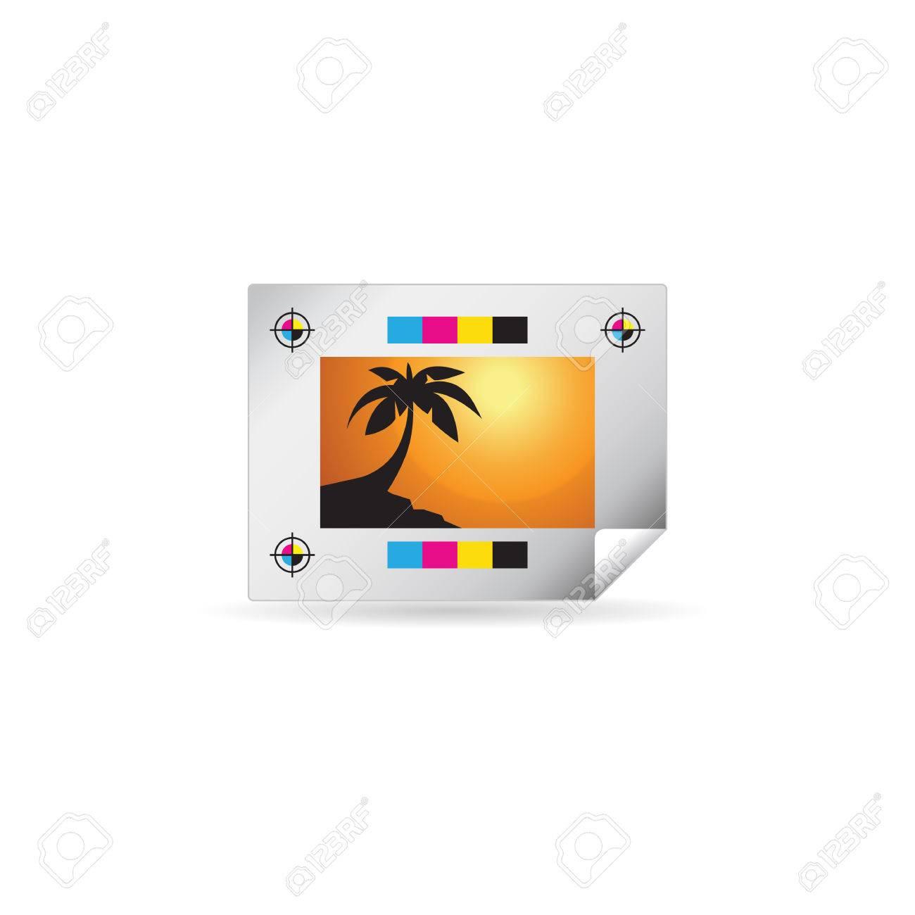 Icono De Prueba De Impresión En Color. Marcas De Registro De Papel ...
