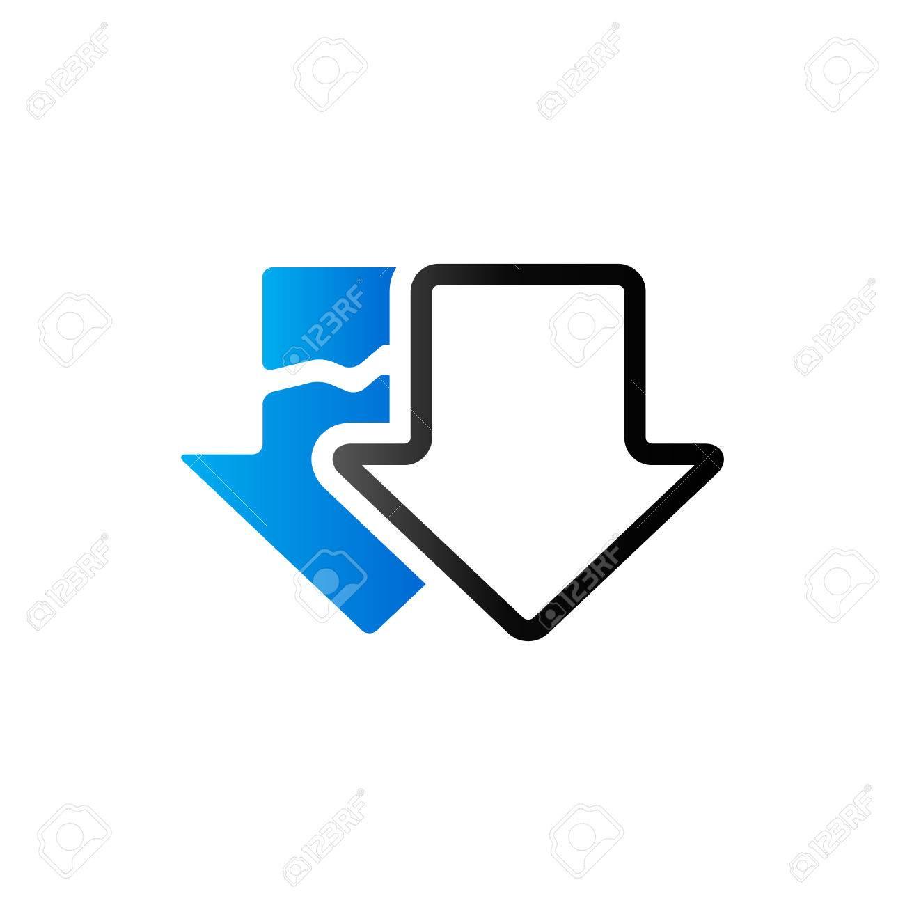 download arrow icon in duo tone color broken resume retrieve