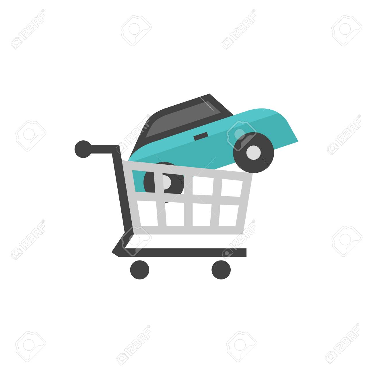 Car Shopping Icon In Flat Color Style Business Automotive Auto