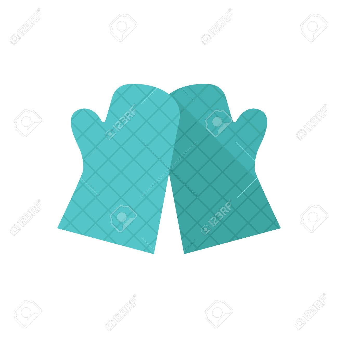 Cooking Glove Icon In Flat Color Style Kitchen Pot Oven Holder