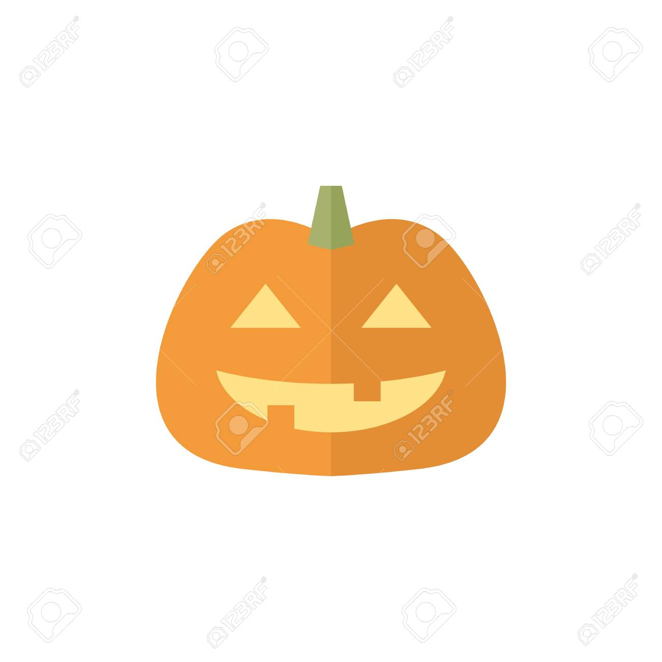 Pumpkin icon in flat color style. Holiday object spooky Halloween..