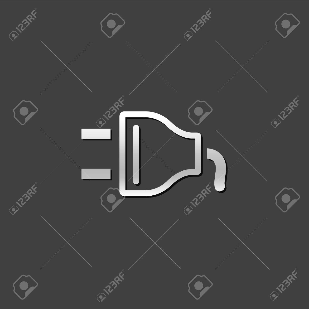 Electric Plug Icon In Metallic Grey Color Style. Electricity ...
