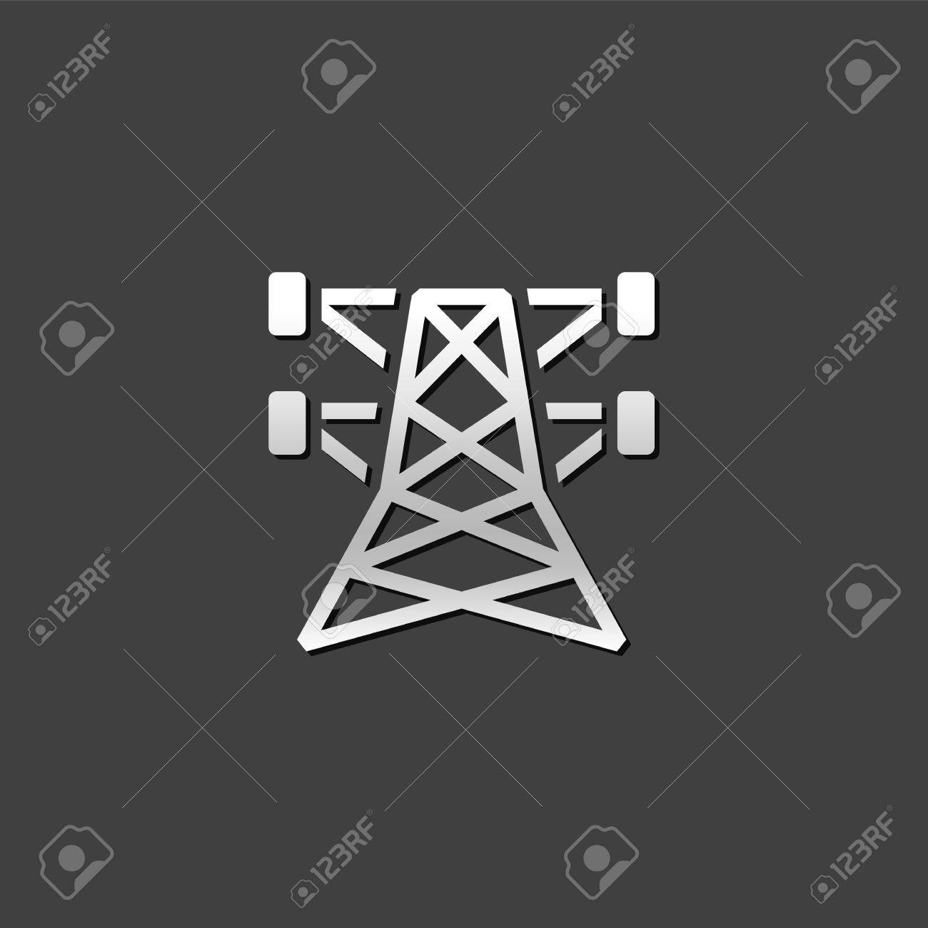 Pylon Icon In Metallic Grey Color Style. Electricity High Voltage ...