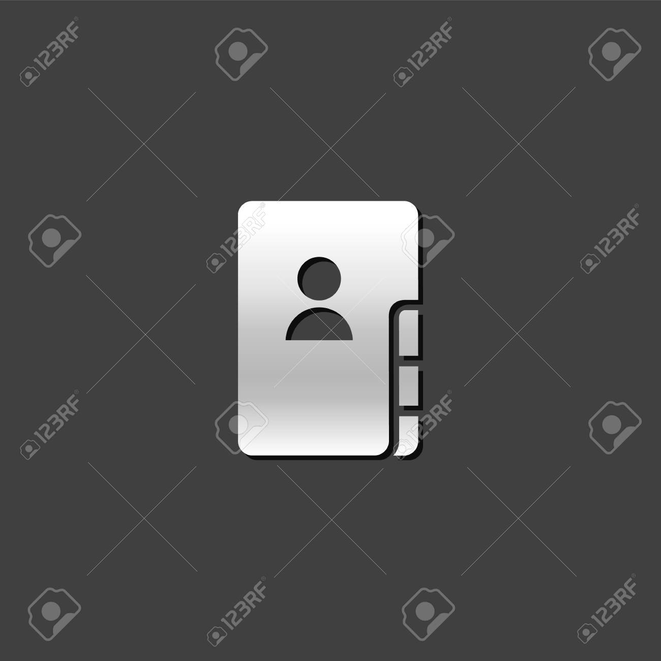 Address Book Icon In Metallic Grey Color Style. Contact Phone ...