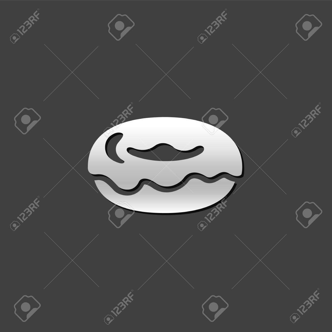 Superbe Kuchen Symbol In Grau Metallic Farbe Stil. Lebensmittel Süß Köstlich  Standard Bild