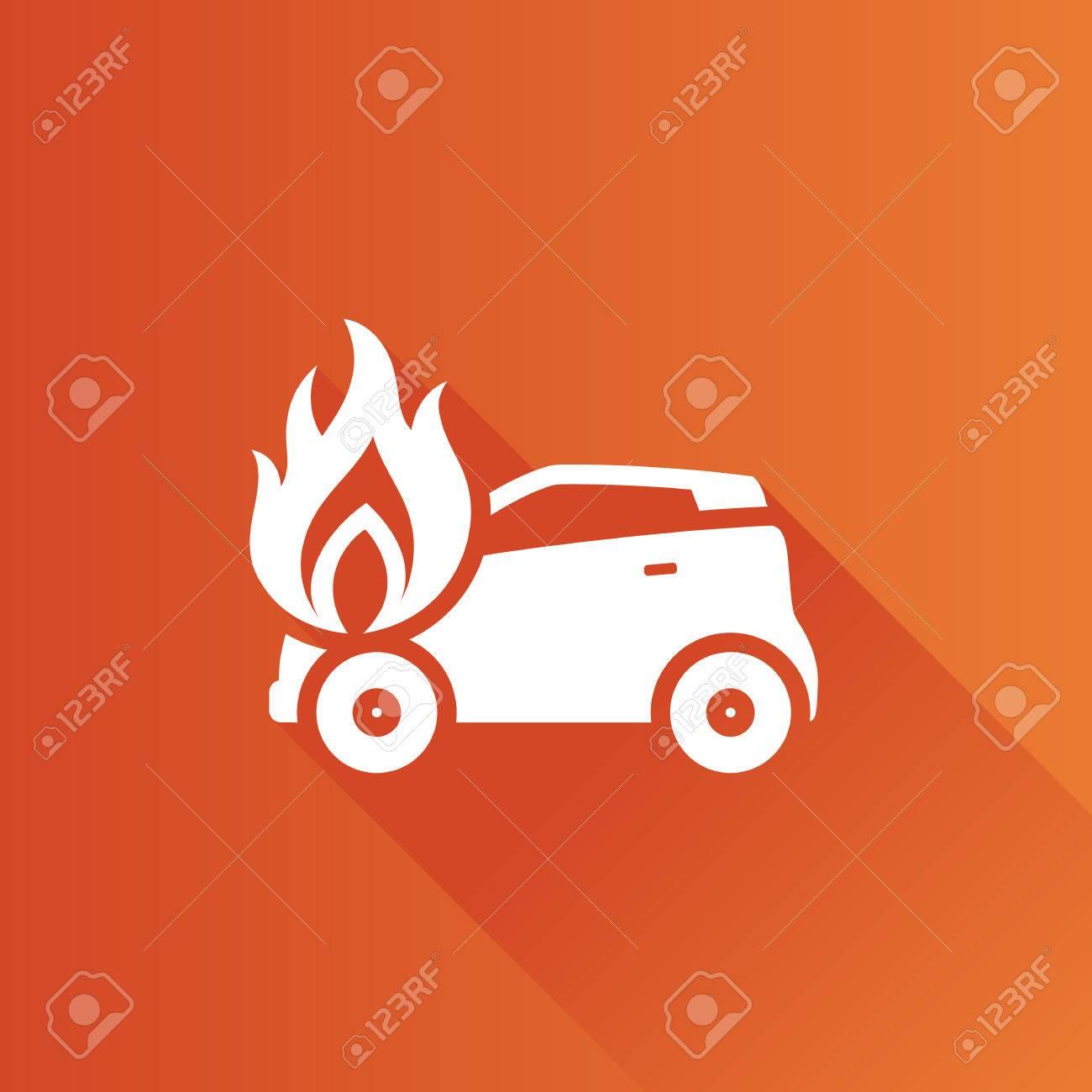 Auto Auf Feuer Symbol In Metro Benutzeroberfläche Farbe Stil. Unfall ...