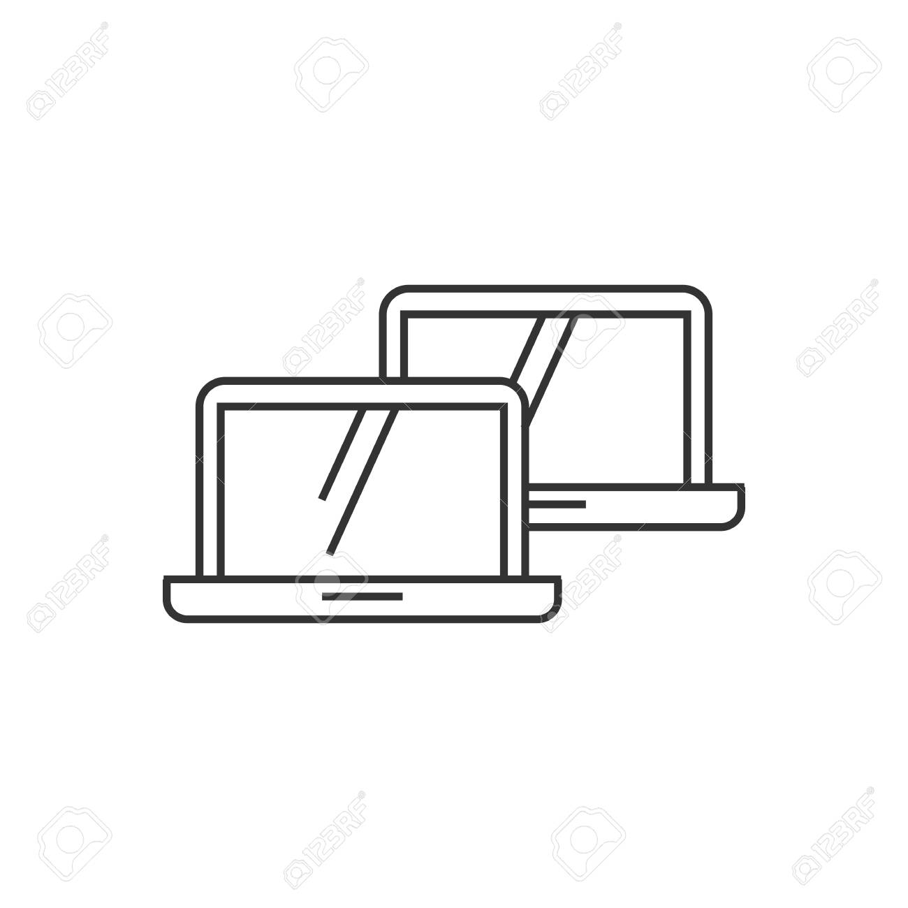 Laptops Icon In Thin Outline Style Electronic Computer Network Connection Diagram Internet Intranet Local Area Stock