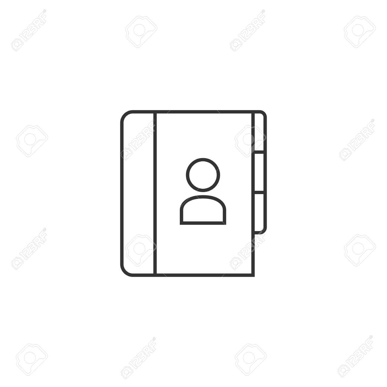 address book icon in thin outline style contac phone list customer