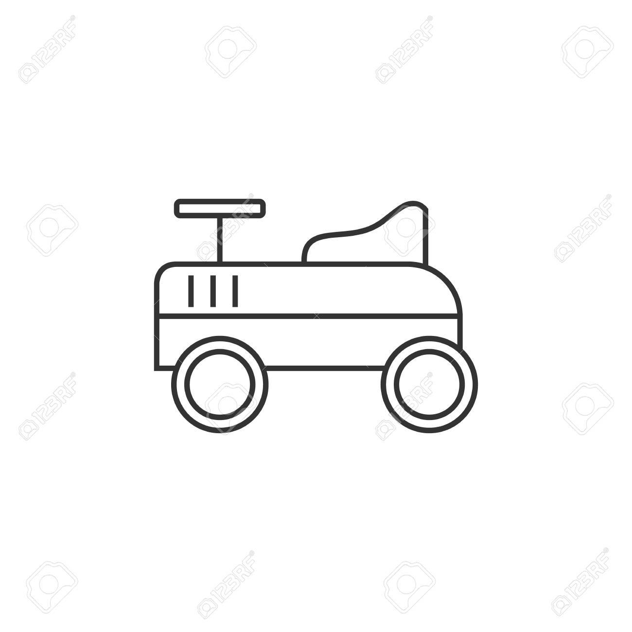 Toy Car Icon In Thin Outline Style Kids Children Playing Driver
