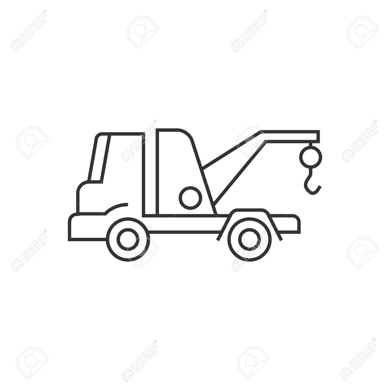 Tow Icon In Thin Outline Style Car Automobile Accident Evacuate
