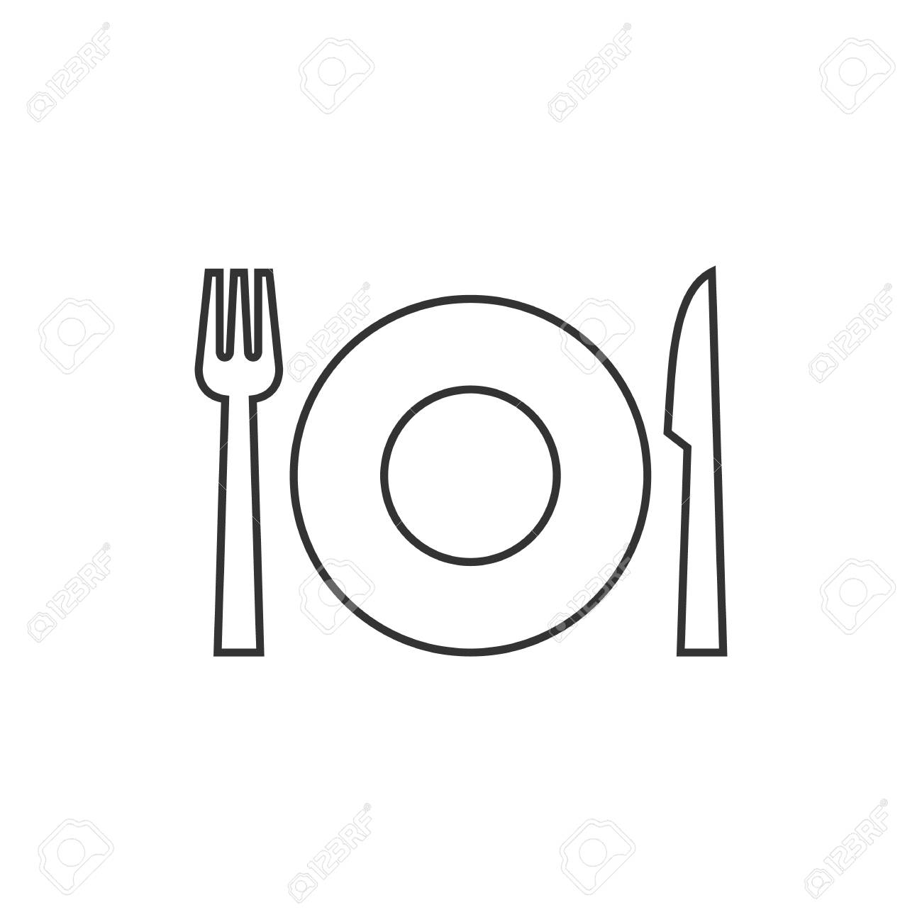 dishes icon in thin outline style spoon fork dinner supper rh 123rf com