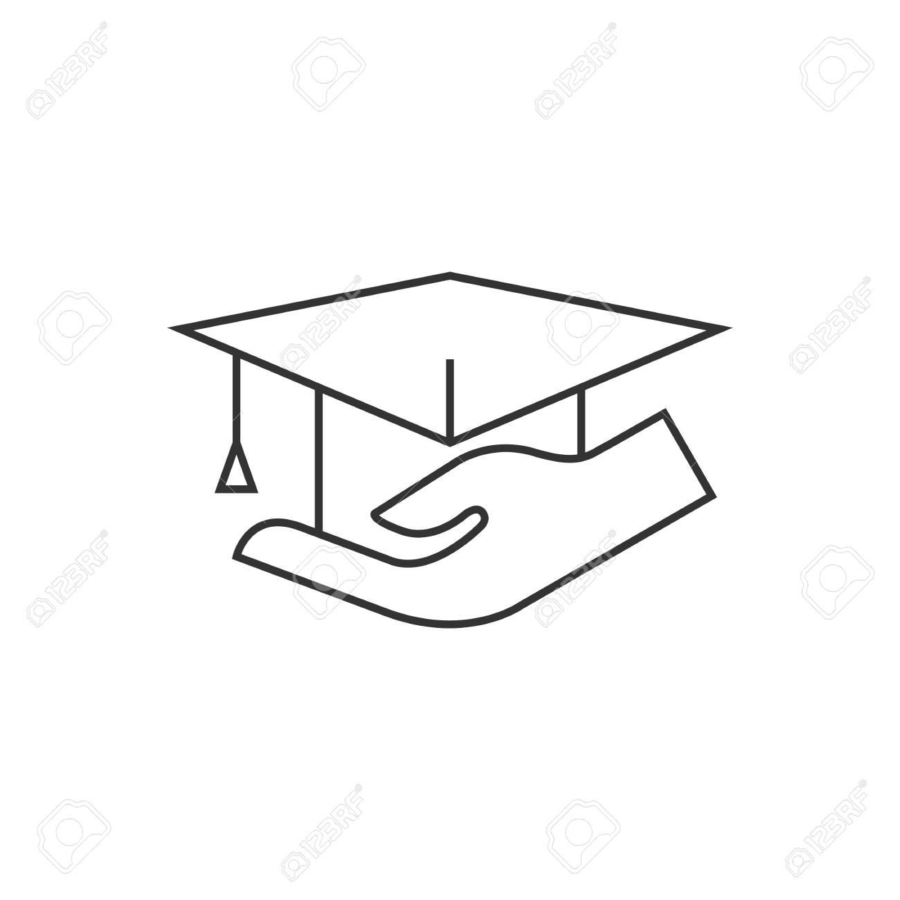 Hand Halt Diplom Ikone In Dunnen Outline Stil Ausbildung