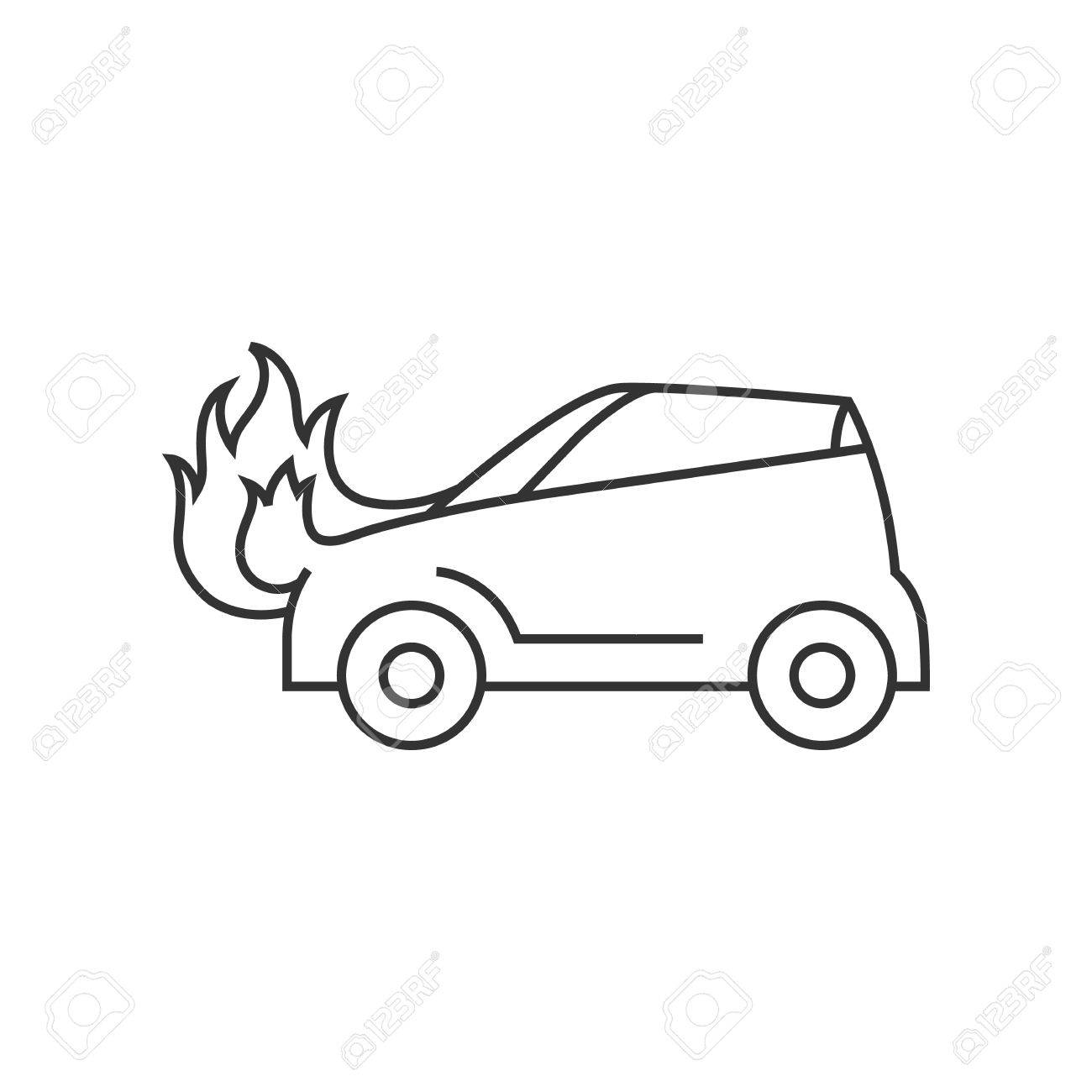 Car On Fire Icon In Thin Outline Style Automotive Transportation