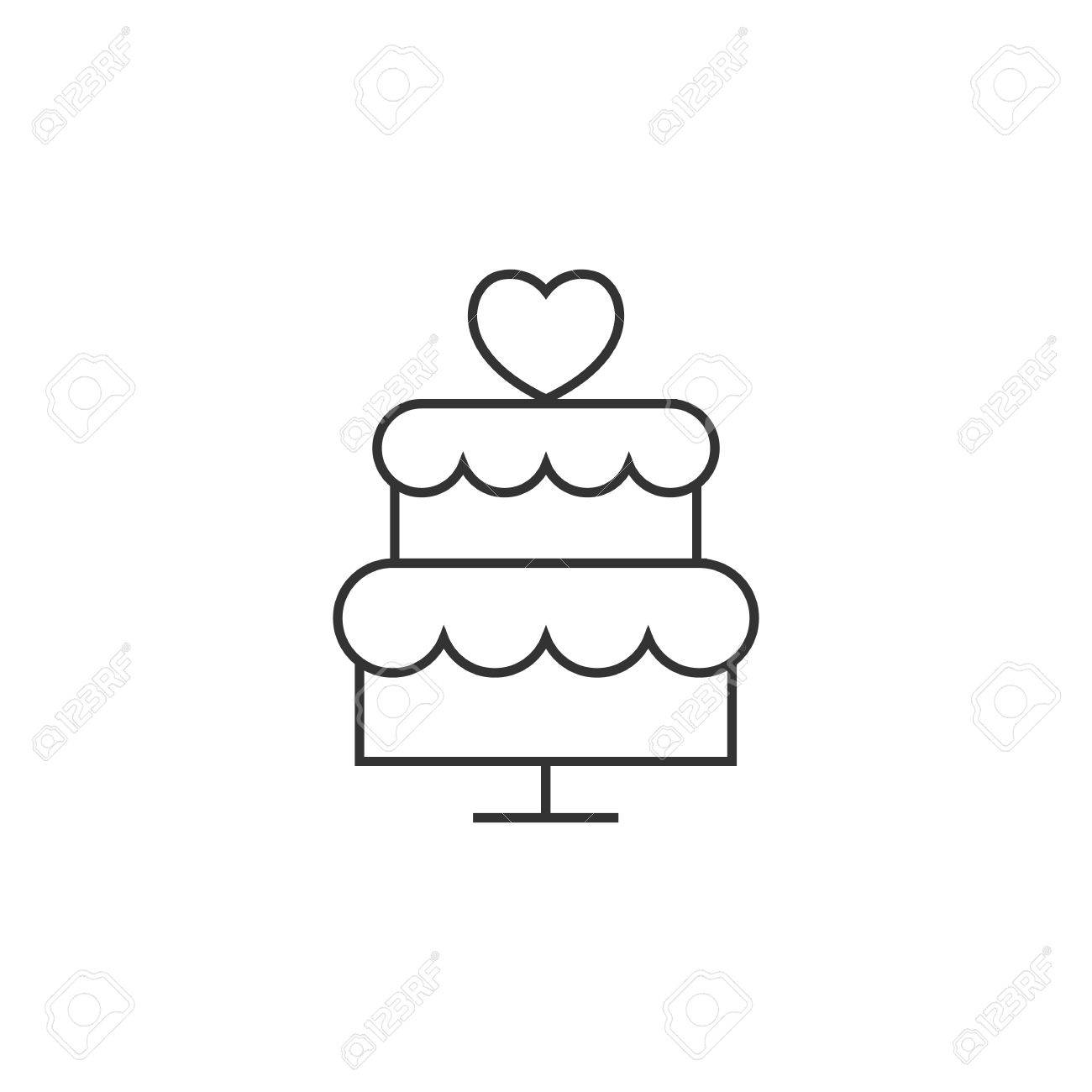 Wedding Cake Icon In Thin Outline Style Romantic Married Party - Wedding Cake Outline