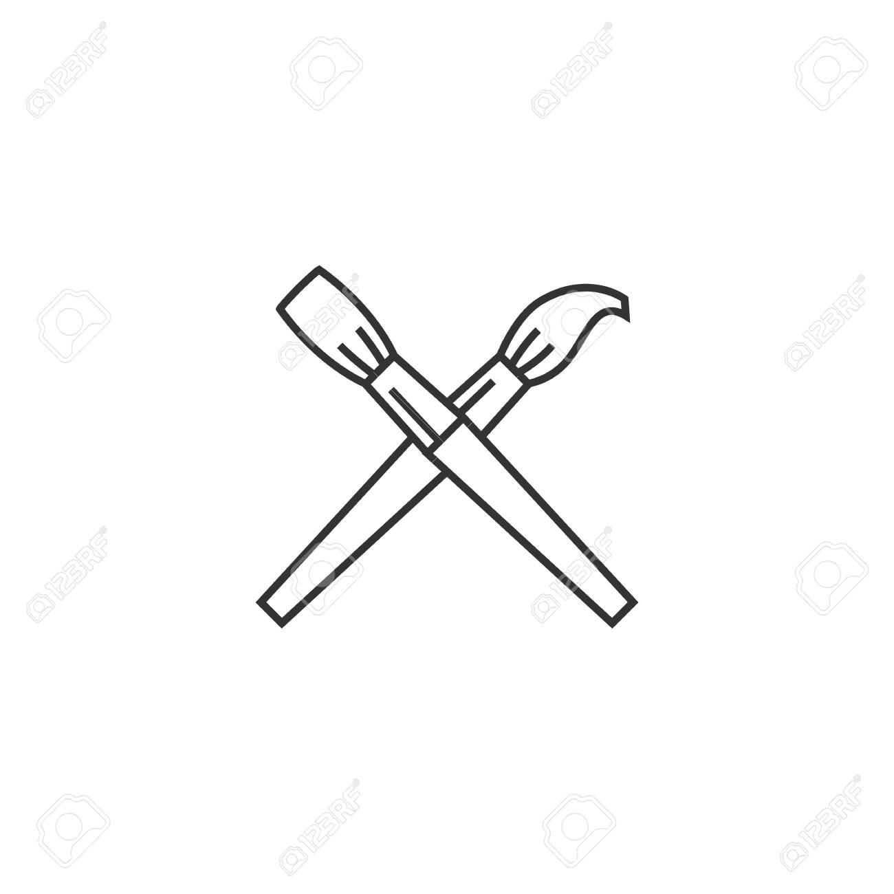L Icone Des Pinceaux Dans Un Style De Contours Mince Artiste Peinture Dessin Oeuvre D Art Clip Art Libres De Droits Vecteurs Et Illustration Image 72639571