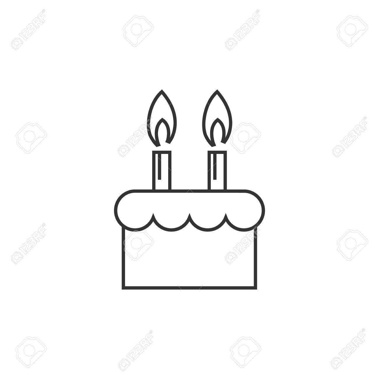 Birthday Cake Icon In Thin Outline Style Royalty Free Cliparts
