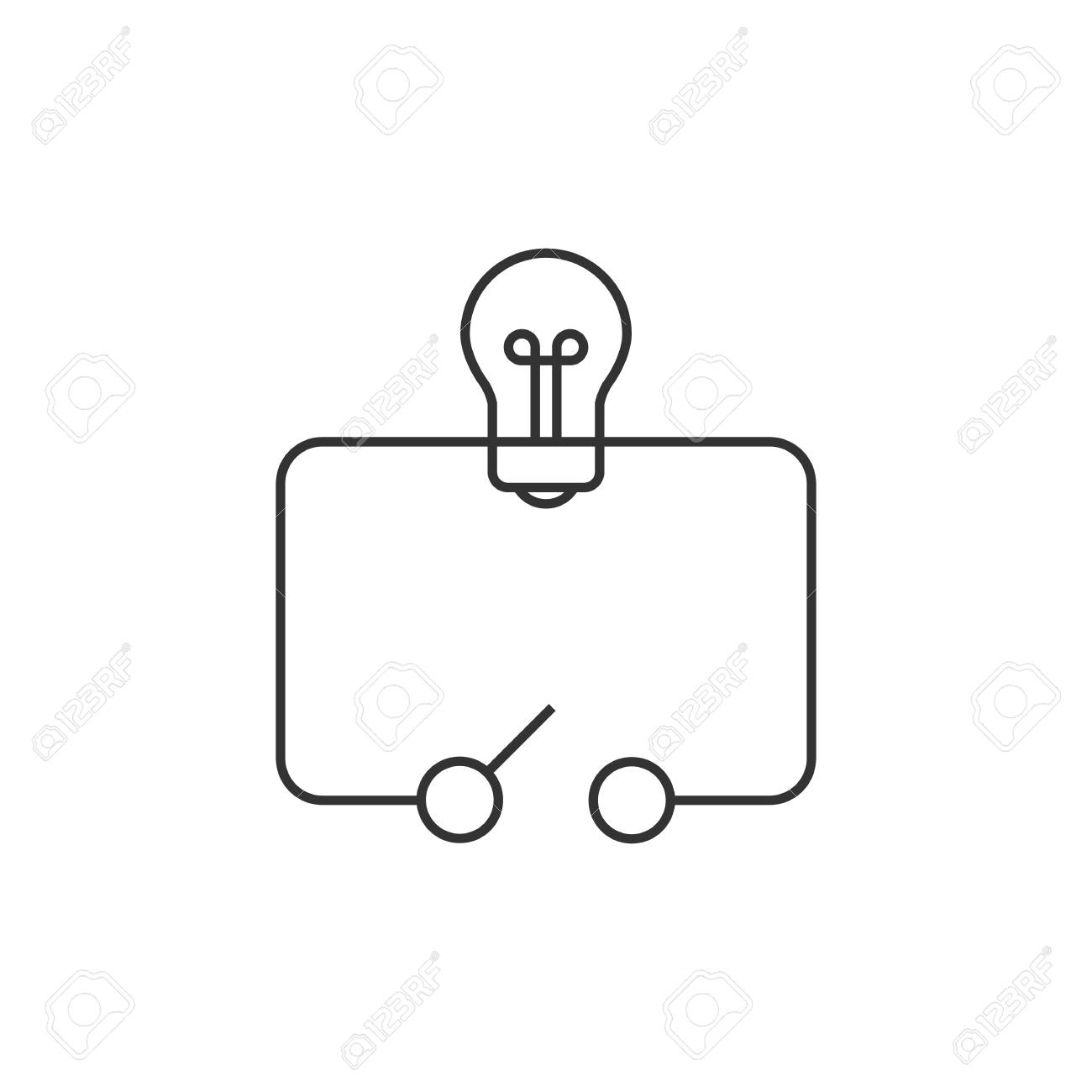 Electric Switch Diagram Icon In Thin Outline Style Royalty Free Symbol Stock Vector 72773027