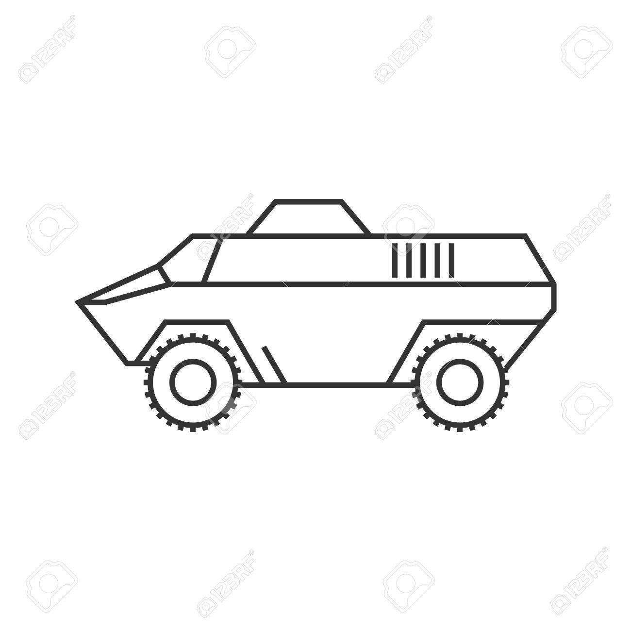 armored vehicle icon in thin outline style military army