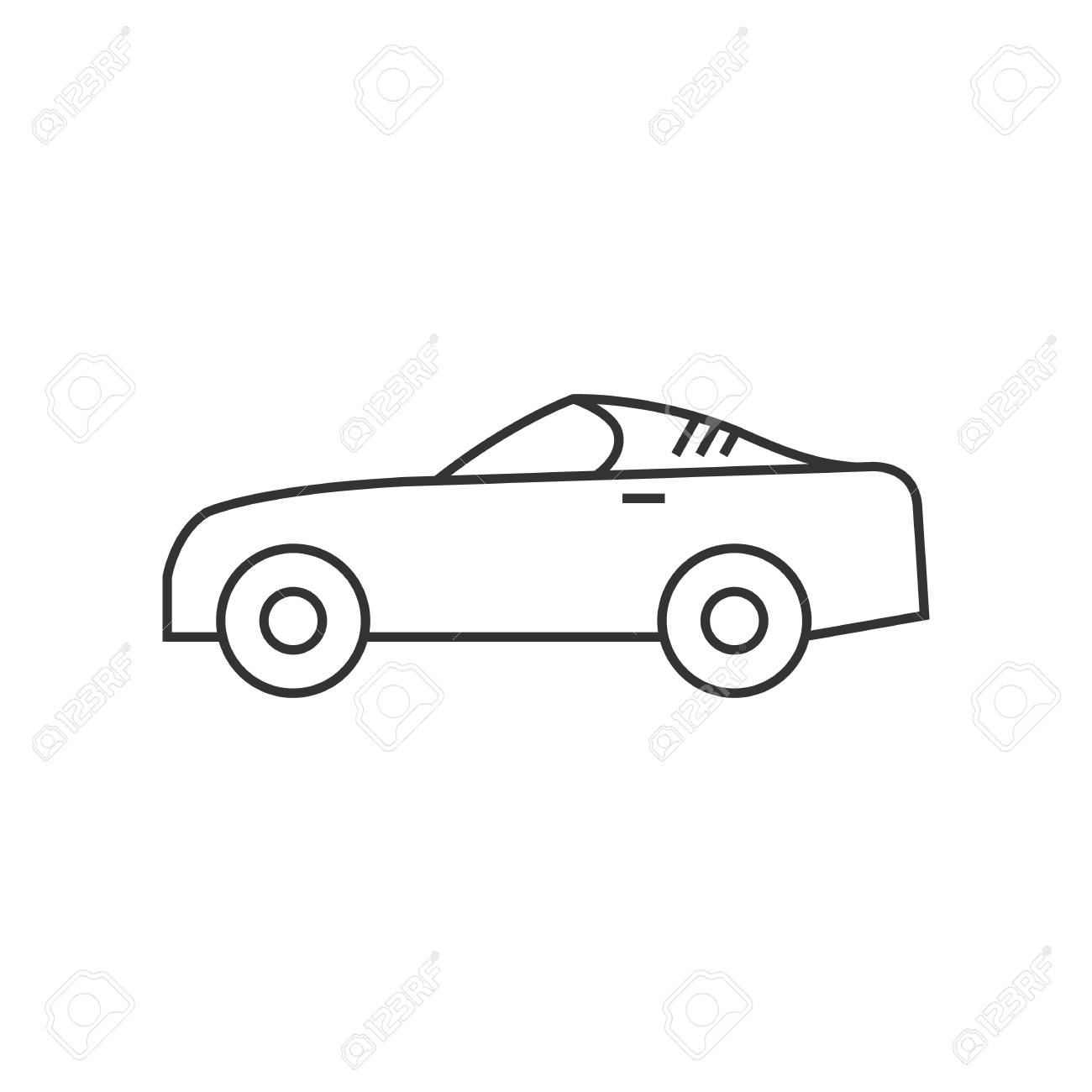 Sport Car Icon In Thin Outline Style Luxury Speed Coupe Automotive