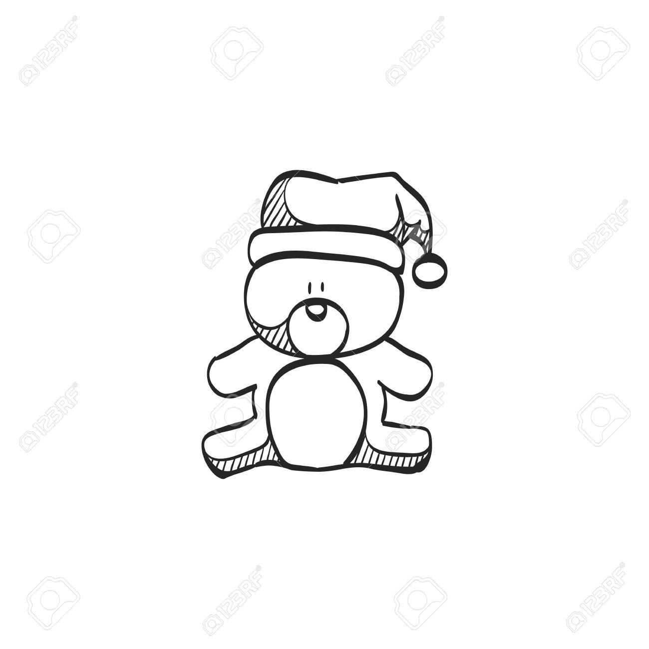 Teddy Bear Icon In Doodle Sketch Lines Christmas Celebration Rh 123rf Com