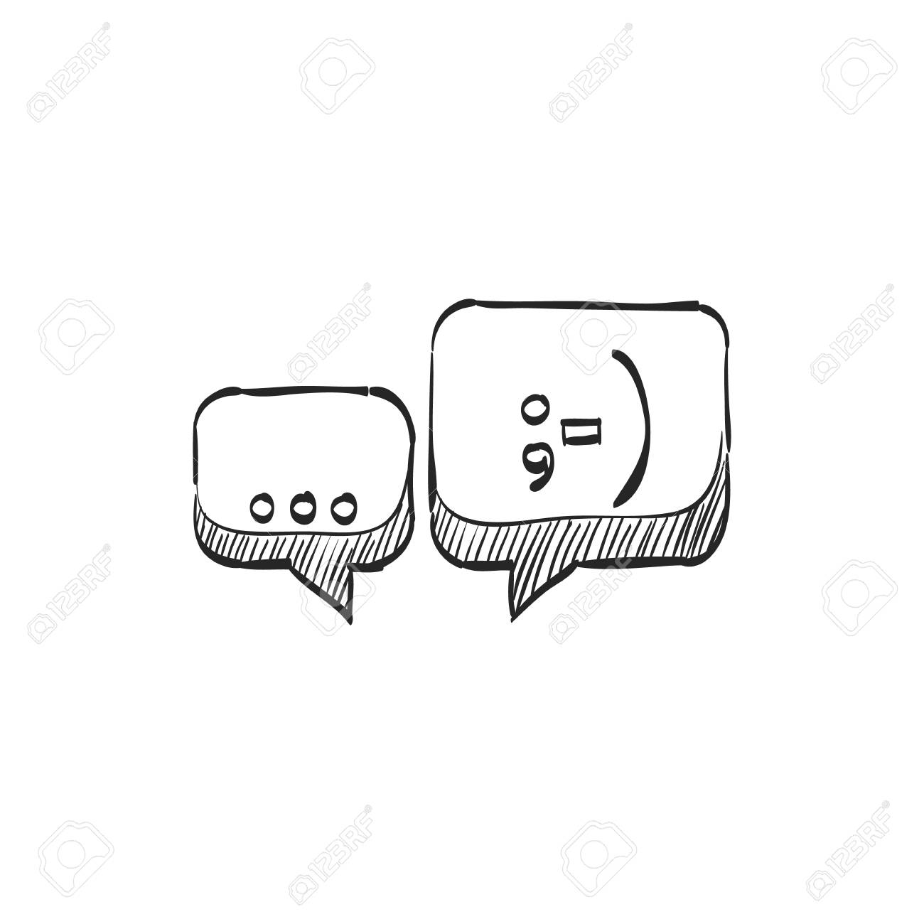 Chatting Icon In Doodle Sketch Lines Text Bubbles Communication