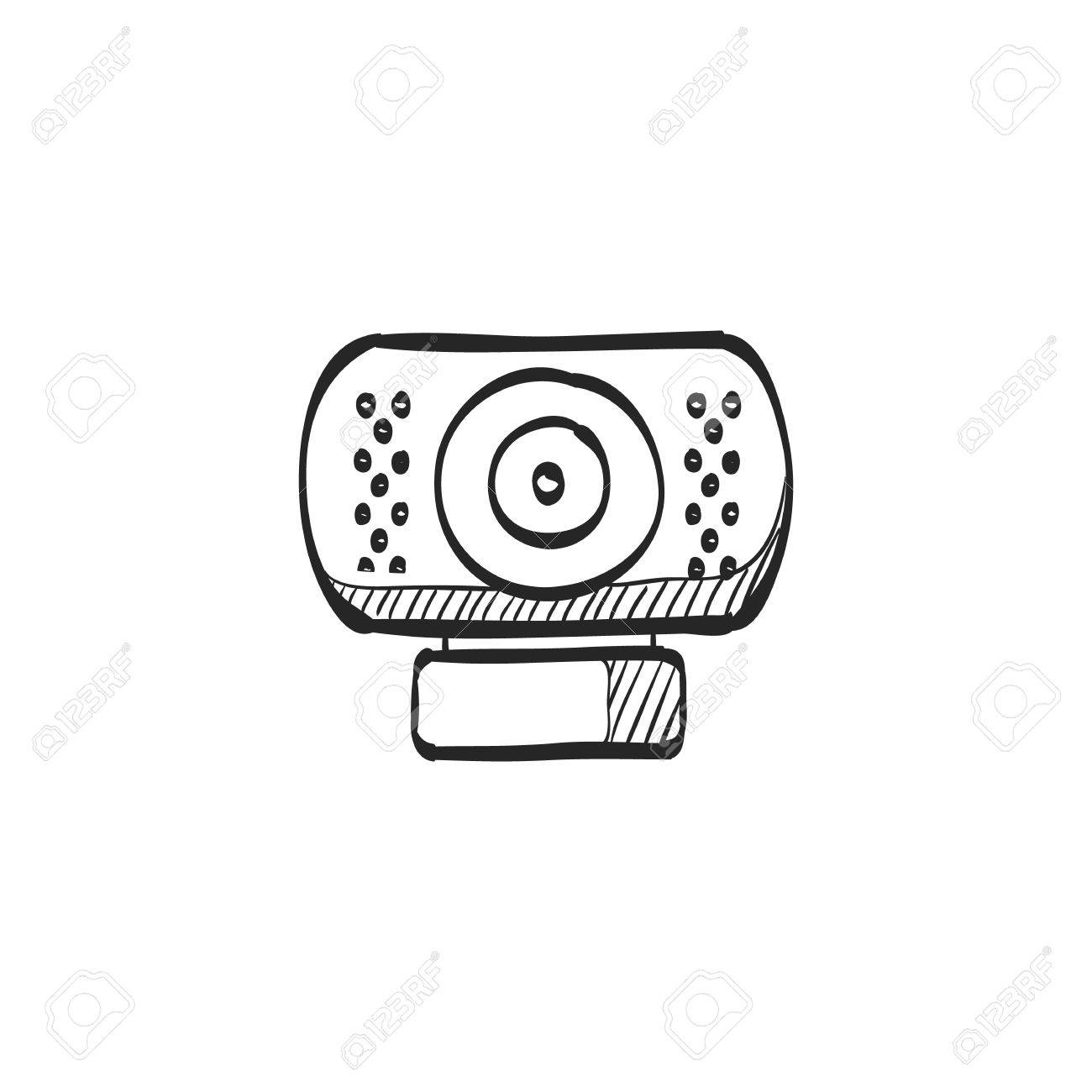 Webcam Icon In Doodle Sketch Lines Computer Internet Connection Royalty Free Cliparts Vectors And Stock
