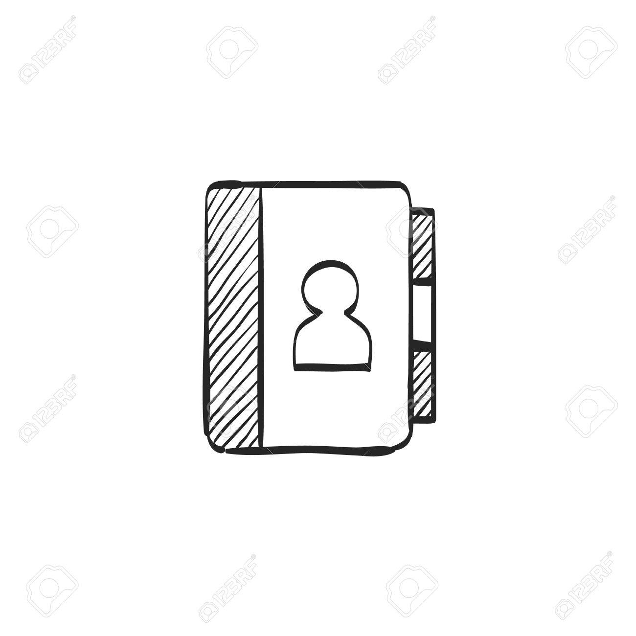 address book icon in doodle sketch lines contact phone list