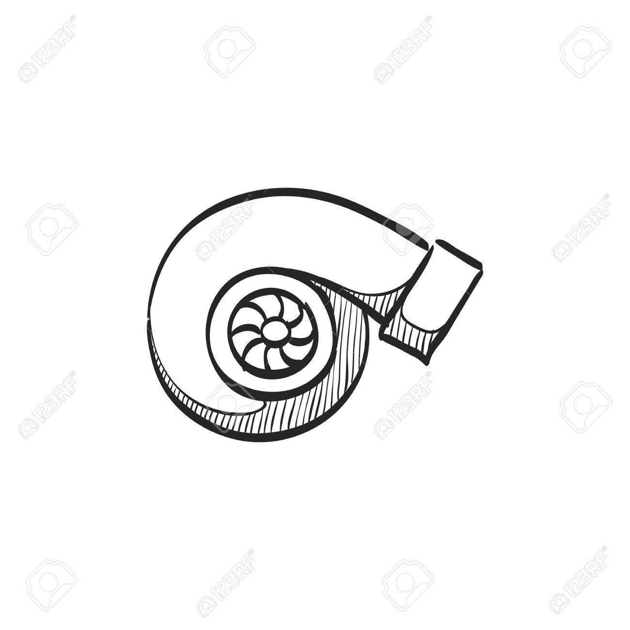 Turbo Charger Icon In Doodle Sketch Lines. Automobile Car Sport ...