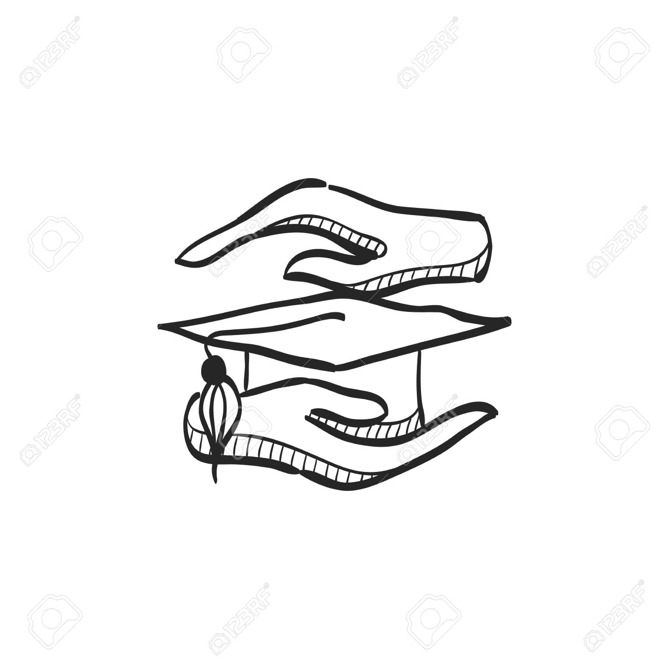 hand holding diploma icon in doodle sketch lines education school  hand holding diploma icon in doodle sketch lines education school protection security graduate diploma insurance