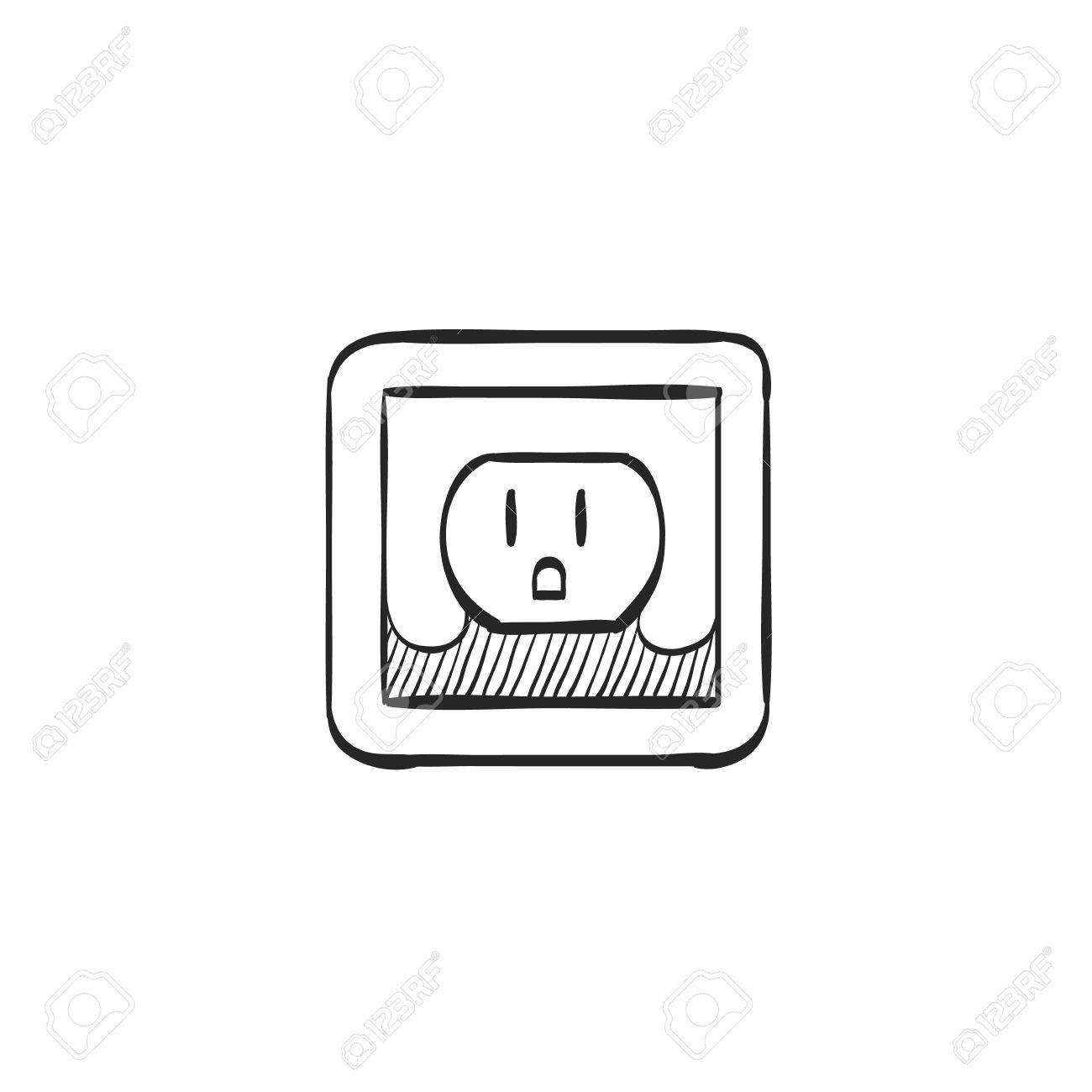 Electrical Outlet Icon In Doodle Sketch Lines Electronic Connect Plug Household Stock Vector