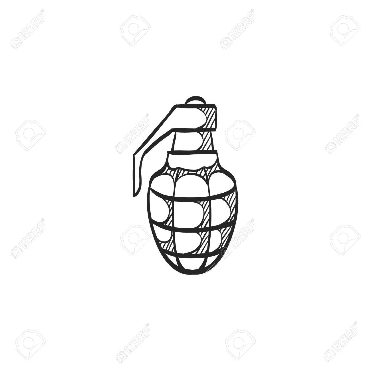 grenade icon in doodle sketch lines military army explosive rh 123rf com WW2 Hand Grenades Hand to Hand Combat Weapons