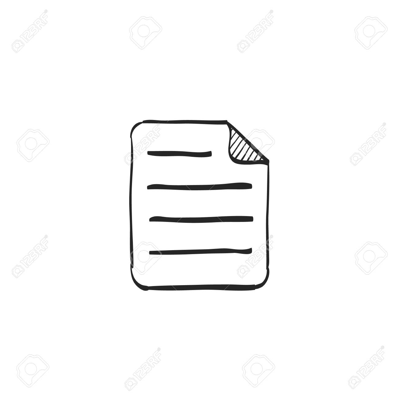 Text file format icon in doodle sketch lines  Document computer