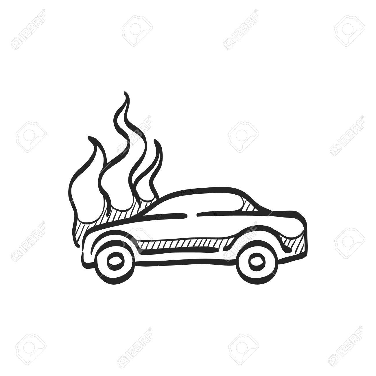 Car On Fire Icon In Doodle Sketch Lines. Automotive Transportation ...